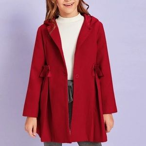 Girls Red Bow Coat